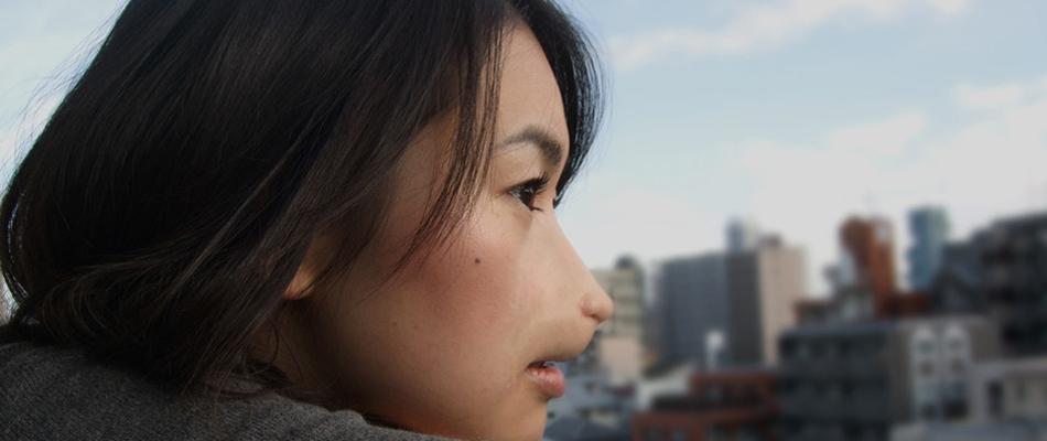 マウス風メイク、特殊メイク、福岡の町を背景に撮影